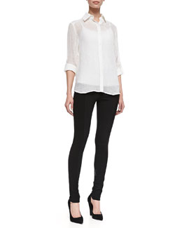 Alice + Olivia Piper See-Through Blouse & Seamed-Detail Combo Leggings