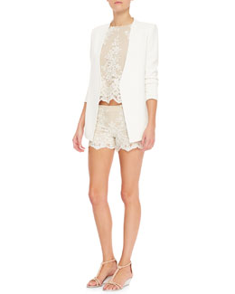 Alice + Olivia Amal Boxy Lace Tank & Scalloped Lace Shorts