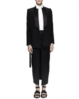 Notched-Neck Tuxedo Jacket, Sleeveless Poplin Top & Double-Layer Kimono Skirt