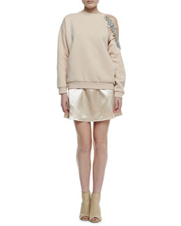 Christopher Kane Cutaway Bejeweled Sweatshirt & High-Shine Short A-Line Skirt