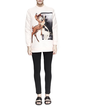 Mixed-Deer-Print Sweatshirt and Inlay-Detail Jersey Leggings