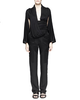 Draped Kimono-Sleeve Top and Crepe-de-Chine Inlay Pants