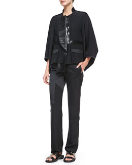 Fan-Lapel Silk Zip Jacket, Maria Carla Jersey Tank Top & Crepe-de-Chine Inlay Pants