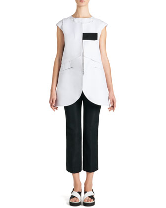 Long Sleeveless Tab Jacket and Cap-Sleeve Ruffle-Bottom Top