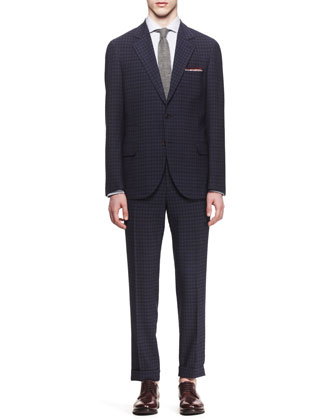 Damier Notched-Lapel Suit & Fine Stripe Shirt