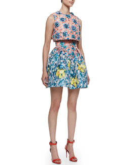 Mary Katrantzou Silver Floss Bejeweled Bow Cropped Top & Algernon High Waist Skirt