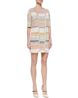 Missoni Shimmery Striped Long Cardigan & Cap-Sleeve Dress