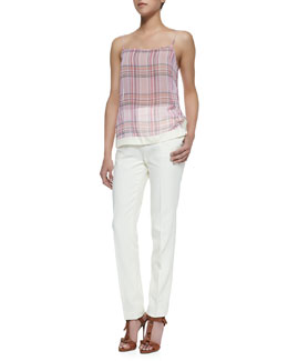 J Brand Ready to Wear Translucent Plaid Spaghetti Strap Tank & Jennie Paper-Cloth Straight-Leg Pants