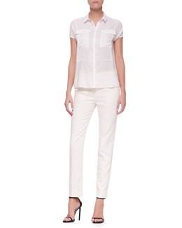 J Brand Ready to Wear Nyberg Georgette Short-Sleeve Blouse & Jennie Straight-Leg Pants