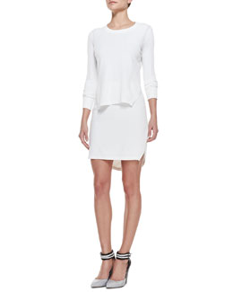 J Brand Ready to Wear Ellen Side-Slit Knit Sweater & Carol Round-Hem Sweater Skirt