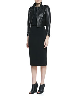 Burberry London Cropped Leather Long-Sleeve Moto Jacket & Boat-Neck Lace-Back Dress