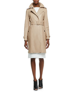 Burberry London Leather No-Button Trenchcoat & Leather Sleeveless Bateau Dress