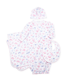 Kissy Kissy Butterfly Dreams Convertible Gown, Baby Hat, Baby Bib, and Baby Blanket