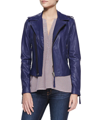 Ailey Washed Leather Jacket & Aruna Mini-Print Silk Blouse