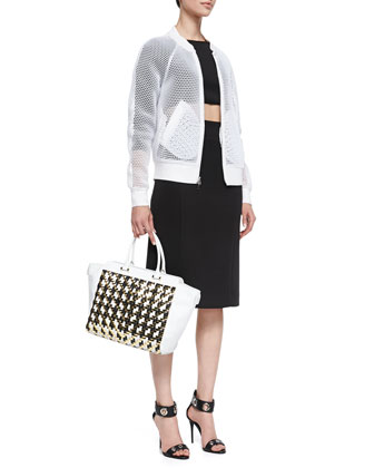 Sheer Mesh Bomber Jacket, Long-Sleeve Crop Top & High-Waist Pencil Skirt