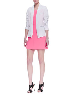 Milly Open-Front Knit Blazer & Neon Outside-Seam Dress