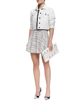 Milly Cropped Leather Button Jacket, Beaded Short-Sleeve Knit Tee & Flared Neon Tweed Miniskirt
