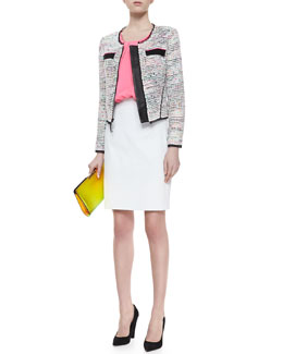Milly Solid-Trim Tweed Jacket, Pleated Stretch-Silk Tank & Snake-Print Leather Pencil Skirt