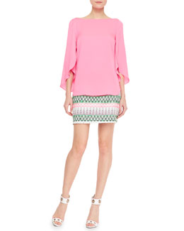 Milly Butterfly-Sleeve Stretch-Silk Top & Tribal-Pattern-Striped Miniskirt