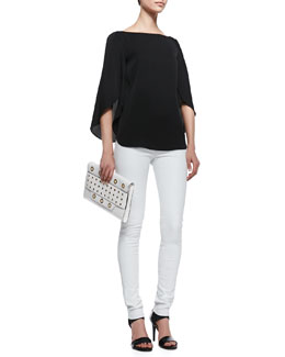 Milly Butterfly-Sleeve Stretch-Silk Top & Contrast Leather Leggings