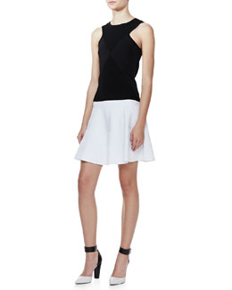 Milly Ribbed Knit Diamond Shell and Ribbed Knit Flare Skirt