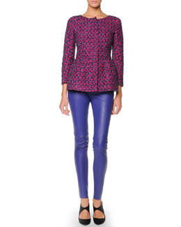Giorgio Armani Boucle Peplum Jacket & Leather Leggings