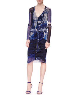 Jean Paul Gaultier Short Printed Wrap Cardigan & Plunging Ruched-Front Dress, Blue