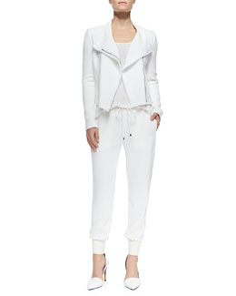 Vince Frayed-Trim Textured Jacket, Trimmed Scoop-Neck Tee & Georgette Leather-Trim Sweatpants