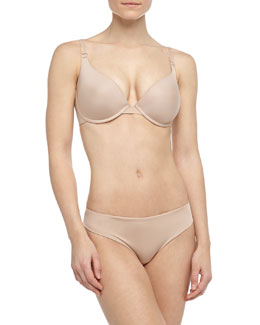 Inspiration Three-Way Convertible Memory Foam Bra & Basic Bikini Briefs, Nude