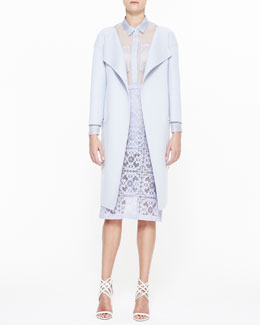 Burberry Prorsum Lightweight Shell Coat, Long-Sleeve Sheer Shirt & Floral Lace Midi Pencil Skirt