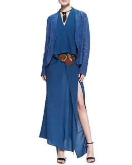 Donna Karan Trompe l'Oeil Easy Jacket, Sleeveless V-Neck Blouse, Ankle-Length Scarf Skirt, Leather Belt & Choker Necklace