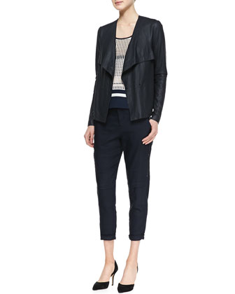 Lightweight Draped Leather Jacket, Printed Slit-Hem Tank & Cropped Linen-Blend Cargo Pants