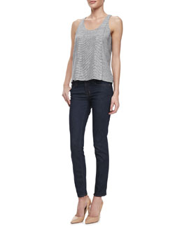 J Brand Ready to Wear Tracey Thin-Stripe Tank & Mid-Rise Impression Skinny Jeans