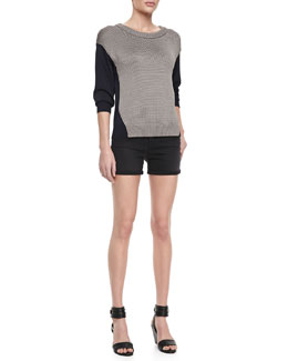 J Brand Jeans Kira Two-Tone Combo Sweater & Leigh Alley Cat High-Rise Shorts