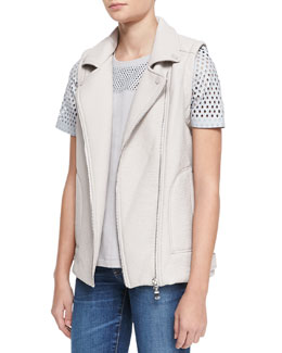 Rebecca Taylor Double-Face Zip Vest & Perforated Cotton/Leather Top