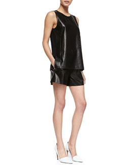 Vince Perforated Leather Sleeveless Top & Boxer Shorts