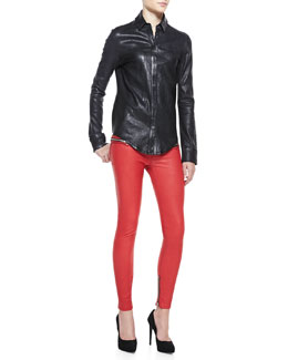 RtA Denim Button-Front Leather Shirt & Leather Zip-Pocket Skinny Pants