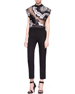 3.1 Phillip Lim Geode Embroidered Crop Top & Crepe Pencil Trousers