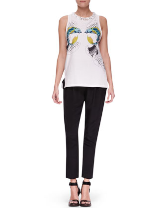 Fish-Print Crystal-Neck Top and Slim Draped Pocket Trousers