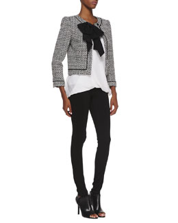 Alice + Olivia Tweed Bow-Detail Jacket, Overlap Silk Tank Top & Seamed-Detail Combo Leggings