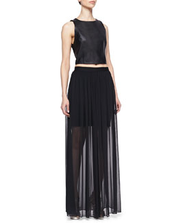 Alice + Olivia Lorita Leather Crop Top & Maxi Skirt with Mini Underlay