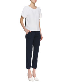 Alice + Olivia Camille Combo-Color Boxy Tee & Arthur Cropped Rolled-Cuff Pants