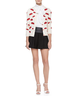 Alice + Olivia Pout-Lip Print Cardigan, Aleena Ascot Silk Top & Leather-Waist Pleated Skirt