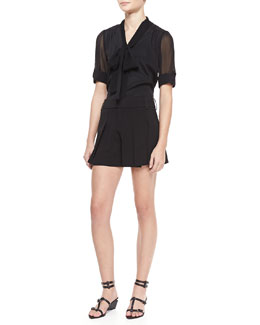 Alice + Olivia Arie Tie-Neck Blouse and High-Waist Butterfly Shorts