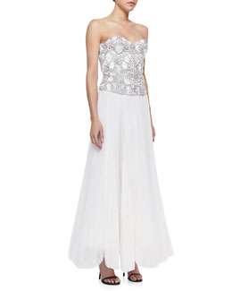 Alice + Olivia Ivy Beaded Sweetheart Bustier & Bethie Long Pleated Maxi Skirt