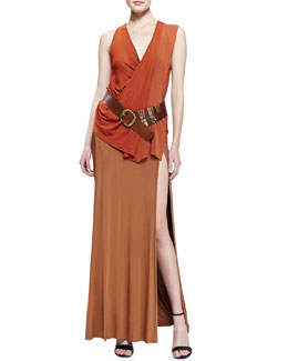Donna Karan Sleeveless V-Neck Top, Long Double-Slit Skirt & Leather Belt with Brass Wrap Hardware