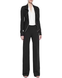 Donna Karan Chain-Trimmed Jacket, Sleeveless Plunging Poplin Bodysuit & Pull-On Wide-Leg Trousers