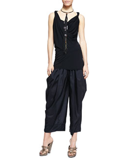Donna Karan Twist Draped Tank Tunic, Wide-Leg Silk Pants & Leather Choker Necklace