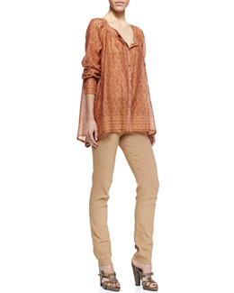Donna Karan Round Neck Printed Henna Blouse & Fold-Over Tube Pants