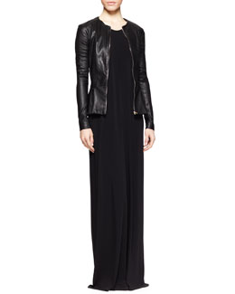 THE ROW Anasta Leather Peplum Jacket and Long Draped Jersey Dress